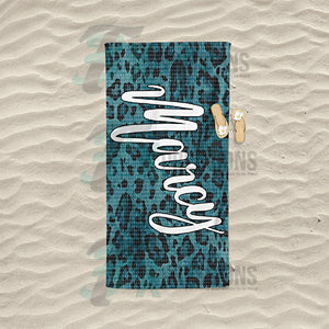 Personalized Leopard Textured Beach Towel