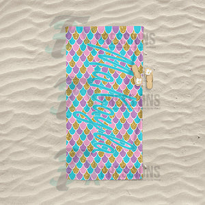 Personalized Mermaid Scale Beach Towel