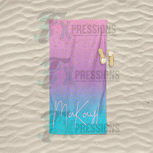 Personalized Ombre Pink and Teal Beach Towel