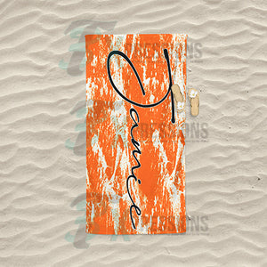 Personalized Orange Bleached Beach Towel
