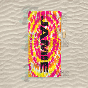 Personalized Pink adn Yellow Tie-Dye Beach Towel