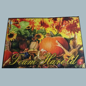 Personalized fall harvest theme door mat - 3T Xpressions