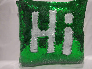 Green & White Sequin Pillows