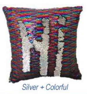 Multi color and Silver Sequin Pillow
