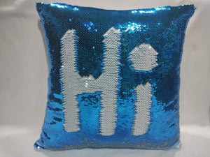 Light Blue and White Sequin Pillow