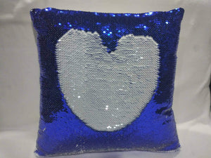 Dark Blue and White Sequin Pillow