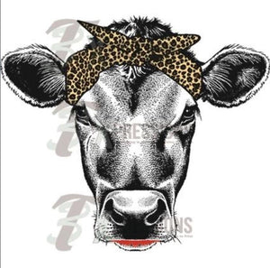 Heat Transfer Vinyl Leopard Scarf Cow - 3T Xpressions