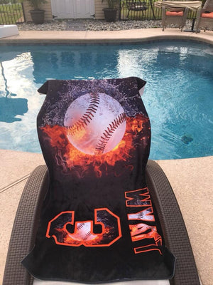 Personalized Baseball Beach Towel - 3T Xpressions