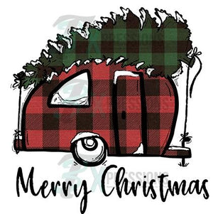 merry christmas plaid camper