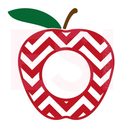 Apple Chevron Pattern Design 2 with Circle for Monogram