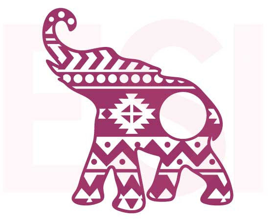 Aztec Pattern Elephant Monogram SVG Cutting File