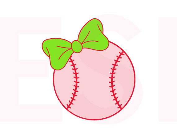 Baseball with Bow Design - SVG, DXF, EPS, - Digital Cutting Files - Commercial Use