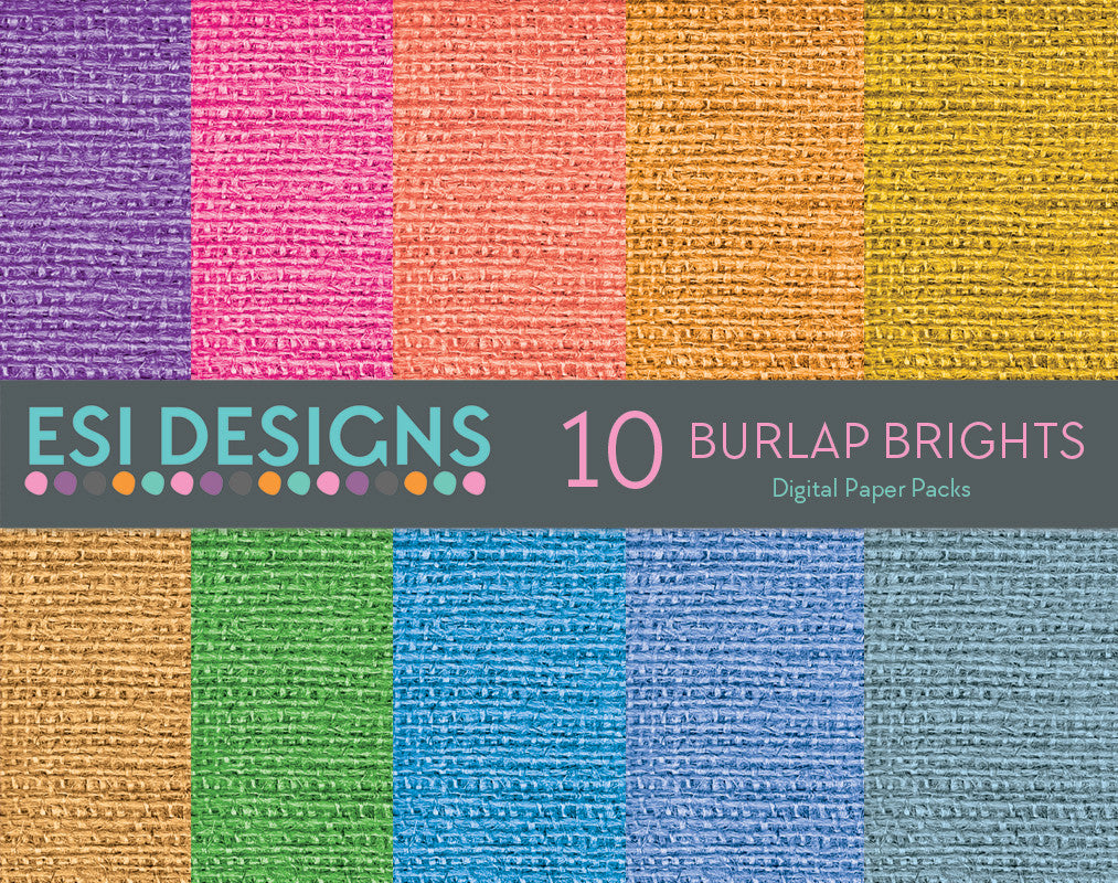 Burlap Digital Paper Pack Brights