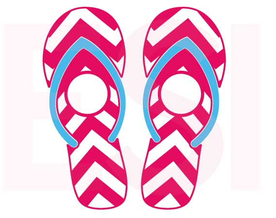 SVG Cutting Files Beach Chevron Pattern Flip Flops with Circle for Monogram