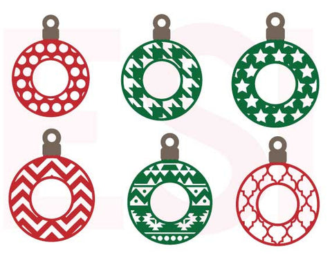 SVG Cutting Files Patterned Christmas Baubles