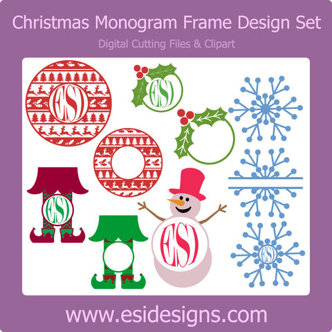 Christmas Monogram Design Set - Digital Cutting Files - Commercial Use
