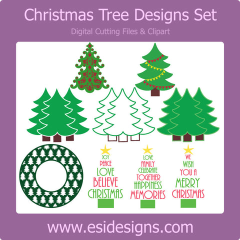 Christmas Tree Designs Set - Digital Cutting Files - Commercial Use