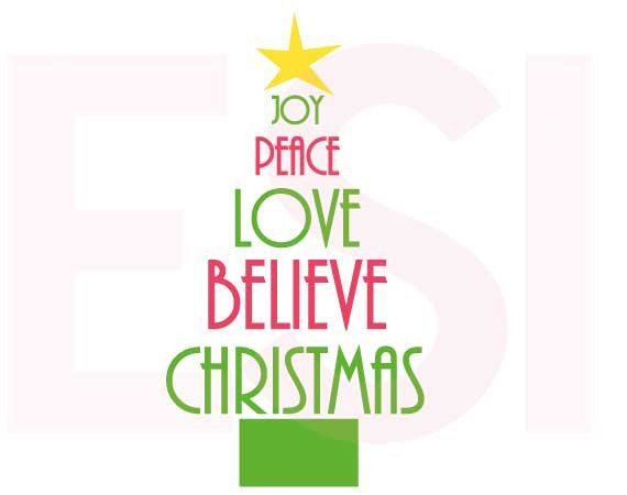 Christmas SVG Cutting Files Tree Joy Peace Love