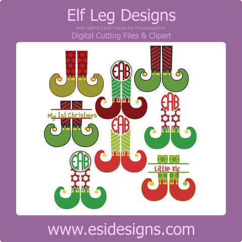 Elf Leg Designs - Digital Cutting Files - with Circle and Split for personalisation - Commercial Use