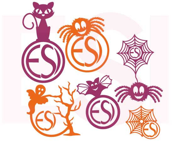 Halloween SVG Cutting Monogram Files