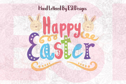 Happy Easter Design with Bunny Heads- SVG, DXF, EPS, PNG - Digital Cutting Files - Commercial Use