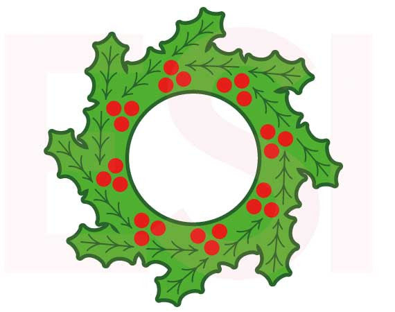 SVG Cutting Files Christmas Holly Wreath 2