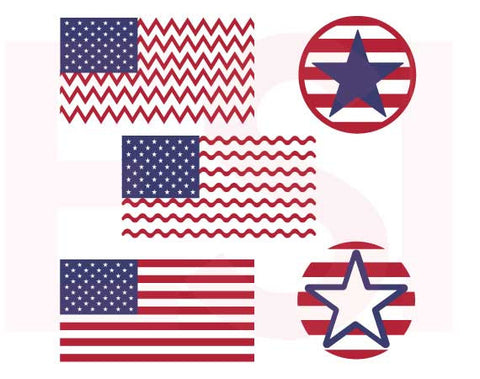 4th July Flags and Circles SVG Cutting Files