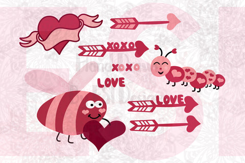 Love Bug Designs Set - SVG, DXF, EPS, PNG - Digital Cutting Files - Commercial Use - Valentines