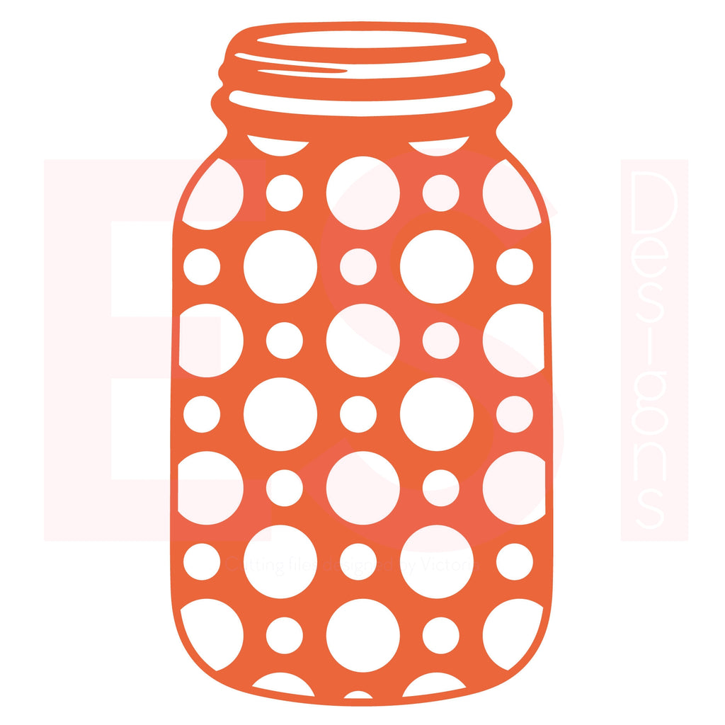 Mason Jar SVG Cutting File Polka Dot Design