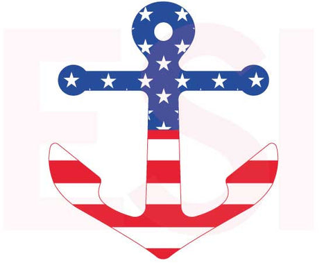 Patriotic US Flag Anchor SVG Cutting File
