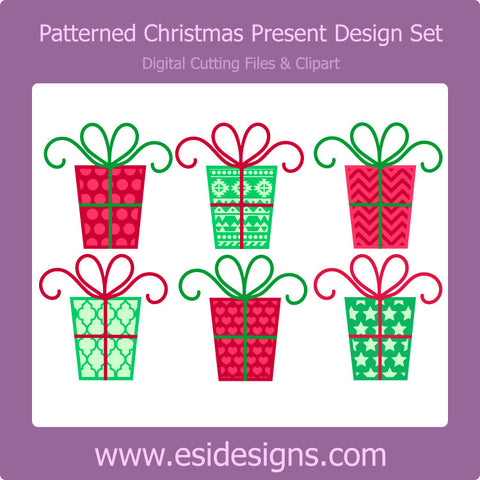 Patterned Christmas Present Designs Set - Digital Cutting Files - Commercial Use