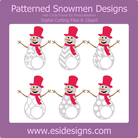 Patterned Snowman Designs with Circle for personalisation - Digital Cutting Files - Commercial Use