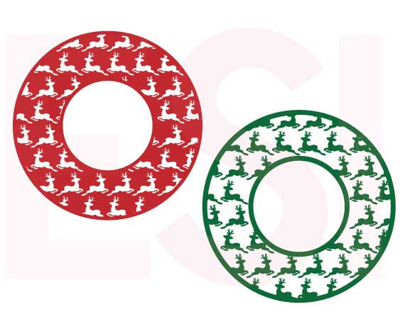 SVG Cutting Files Christmas Reindeer Circle Frames