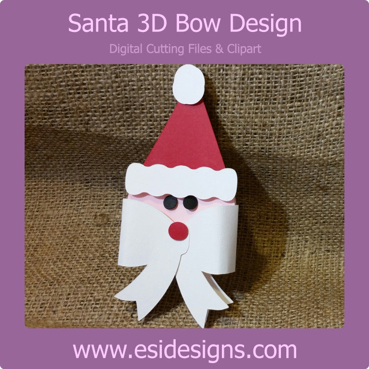 Santa 3D Bow Design - Digital Cutting File - Commercial Use