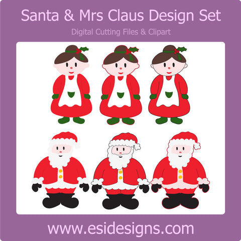 Santa & Mrs Claus Design Set - Digital Cutting Files - Commercial Use