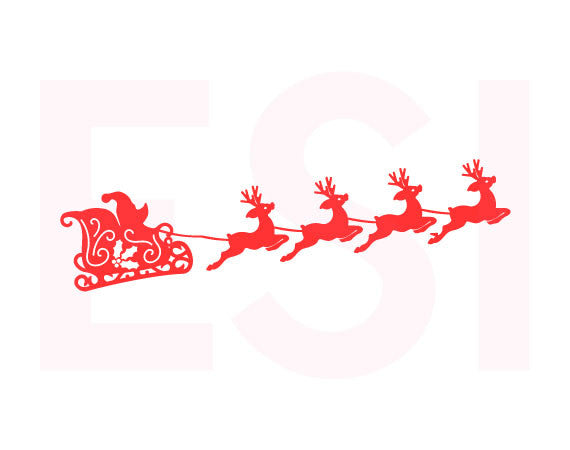 SVG Cutting Files Christmas Santa Sleigh and Reindeers