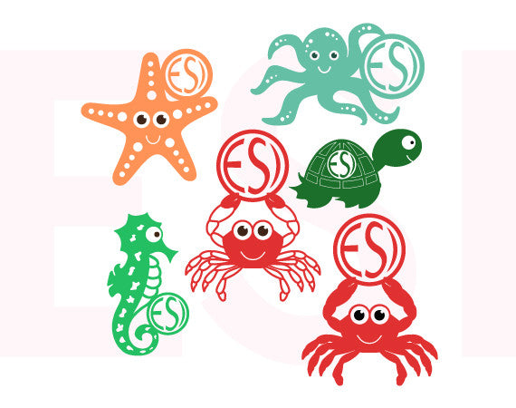 Sea Creature Designs with Circle for Monogram - Bundle.