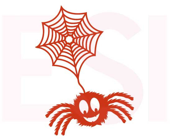 Furry Spider attached to Web SVG Cutting File