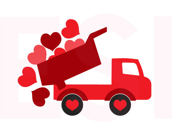 Valentine svg files, Truck with hearts,
