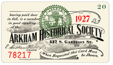 Arkham Historical Society membership card, sample prop