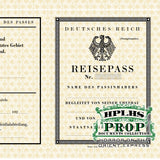 Detail view of vintage German passport