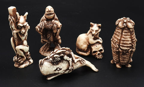 Full set of five Lovecraftian Netsuke by Gage Prentiss