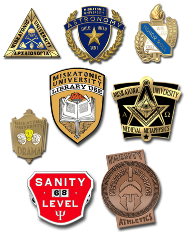 Complete set of 8 Miskatonic University letterman pins