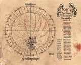 I won't even pretend that I understand this star chart. It shows the position of Xoth and somehow involves Ophiucus, the 13th sign of the Zodiac. But it's a good all purpose gaming prop.