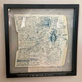 "Framed sketch in double-sided ""floater"" frame"