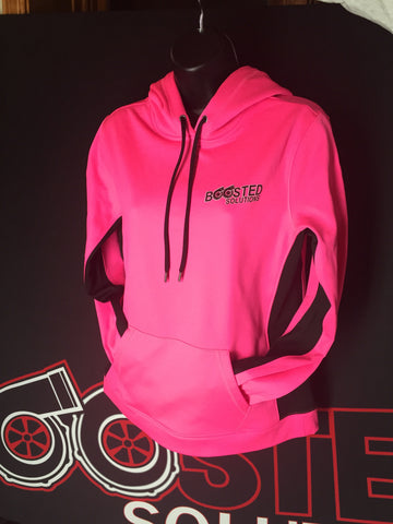 Boosted Solutions Ladies Pink/Black Polyester Hoodie