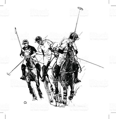 Black and White Sketch of Men Playing Polo