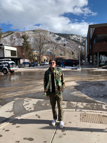 Brand Manager, Cole Crouch, in Camo M-65 Jacket