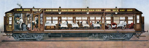 German fold-out cross-section of an Orient Express dining car, 1896. (Photo: Arjan den Boer)