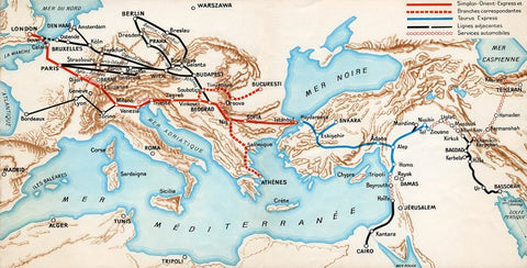 Simplon Orient Express map, c. 1932. (Photo: Arjan den Boer)